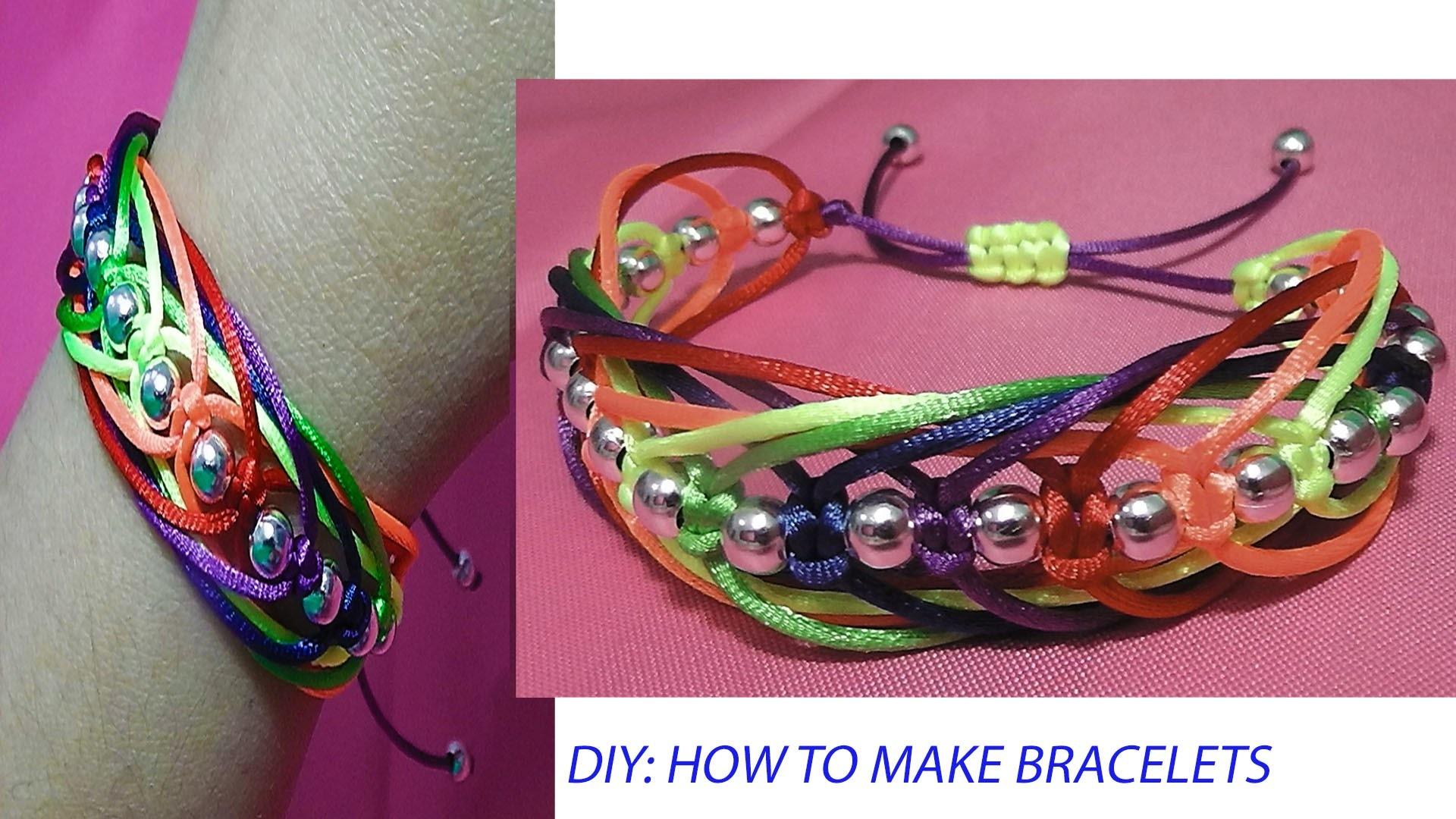 How to make a bracelet knots macrame Square knot weave adjustable tutorial diy