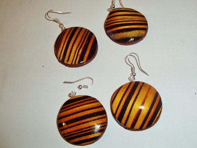 TUTORIAL golden striped fimo earrings