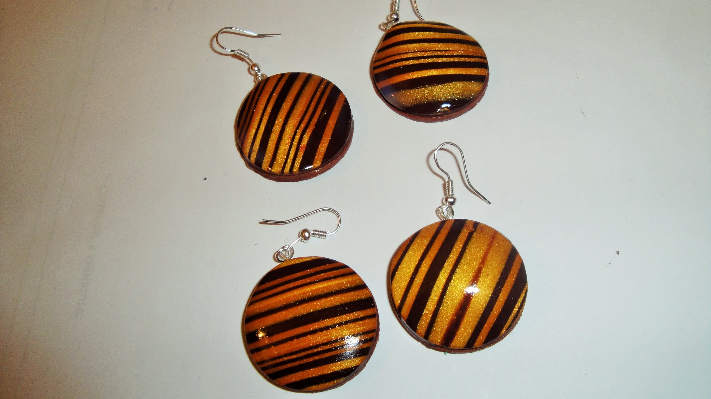 TUTORIAL golden striped fimo earrings