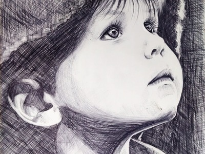 Hogyan rajzolj golyóstollal | How to draw a child with black pen tutorial