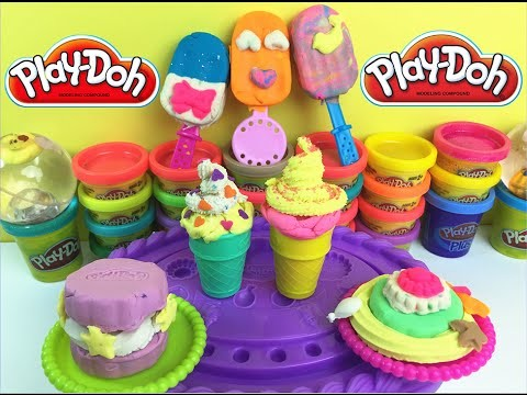Play Doh  DIY Ice Cream Set Playdough Rainbow Popsicle Special Sandwich And Cake