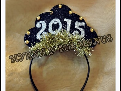 Diy diadema para año nuevo 2015.Diy headband for new year 2015.