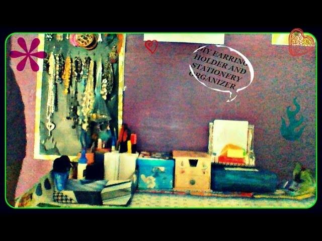 Diy easy earring holder and stationery organiser