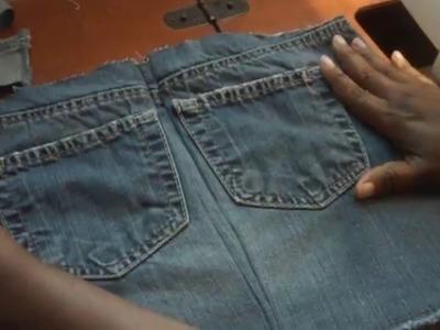 DIY jean skirt purse pt.1