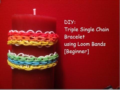 DIY: Triple Single Chain Bracelet using Loom Bands [Beginner]