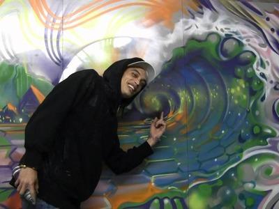 Caleb Aero - Aerosol Art Wood Panel Spray Painted Wave Piece