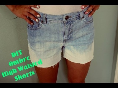 DIY Ombre Distressed High Waisted Shorts