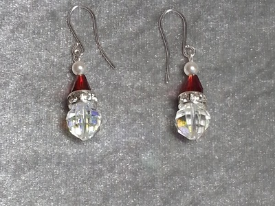 DIY~Sparkling Crystal Santa Head Earrings Or Charms