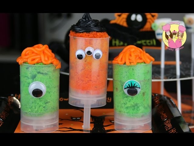 HALLOWEEN MONSTER PUSH POPS cake shooter Tutorial by Charli's crafty kitchen how to DIY