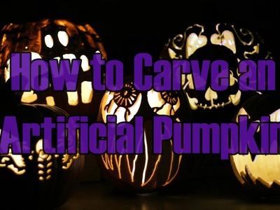How to Carve a Foam Pumpkin Jackolantern for Halloween