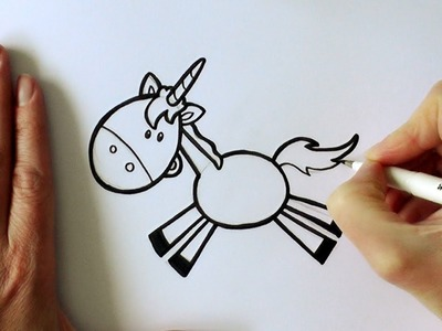 How to Draw a Cartoon Leaping Unicorn