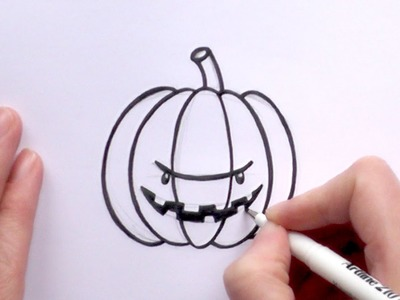 How to Draw a Cartoon Scary Pumpkin For Halloween