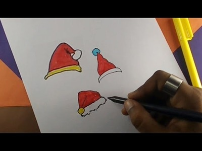 How to draw a santa claus hat | Kids drawing practice