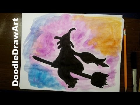 How to Draw a Witch On a Broom for Halloween - Step by Step Halloween Drawing Ideas