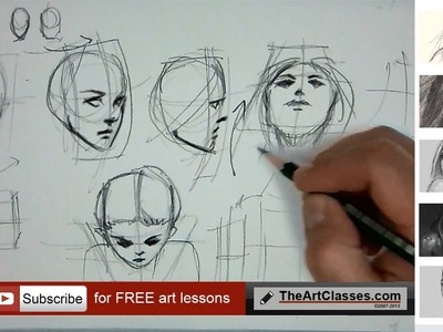 How to draw face in different angles or directions (part 2 of 3)