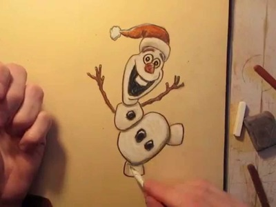 How to Draw Olaf from Frozen in a Christmas Santa Hat - Draw It Today #2 - Speed Drawing