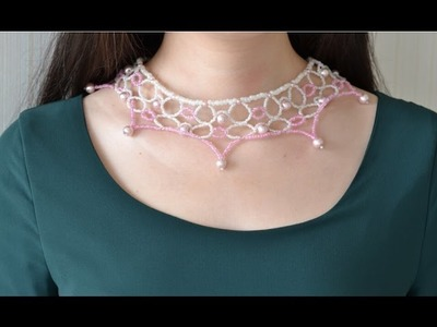 How to Make a Pink Flower Choker Necklace with Pearl Beads and Seed Beads