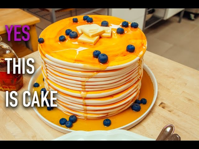How to Make a Stack of Pancakes. CAKE! Vanilla Cake, Blueberry Jam and Maple-Infused Buttercream.
