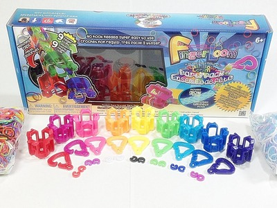 Rainbow Loom Finger Loom Party Pack Unboxing. Review (Loom bands)