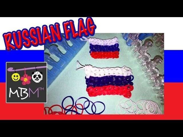 Rainbow Loom or Alpha Loom Band  Russian Flag Charm Tutorial