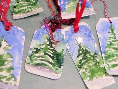 Watercolor christmas tree gift tag