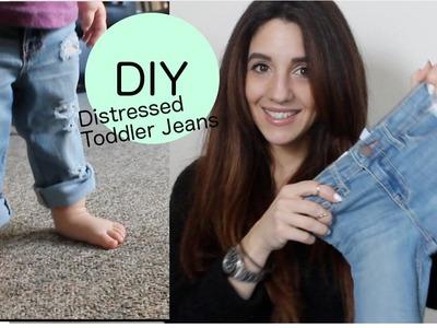 DIY Distressed Boyfriend Jeans (Toddler Version)