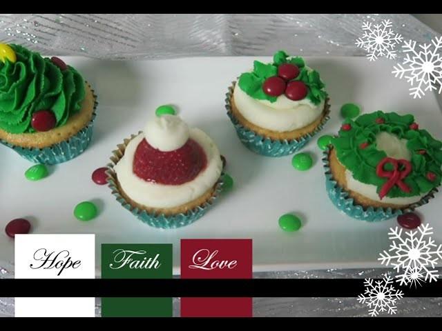 DIY Holiday Cupcakes: Tree, Wreath, Mistle Toe, Santa Hat - Sharron's Take
