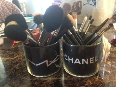 DIY MAKEUP BRUSHES HOLDER using Chanel and MAC paperbags to design empty candle jars