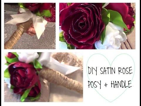 DIY Satin Rose Posy with Burlap String Handle