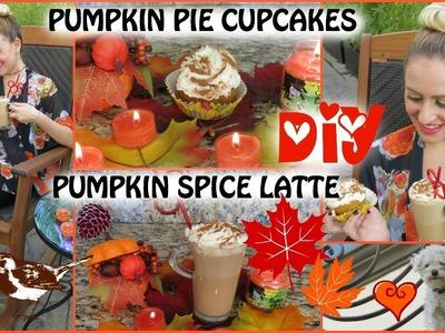 DIY PUMPKIN SPICE LATTE AND PUMPKIN CUPCAKES! FALL