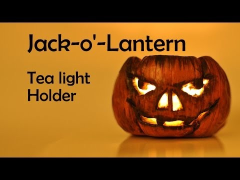 Halloween: Jack-o'Lantern. Pumpkin Tea Light Candle Holder - polymer clay TUTORIAL