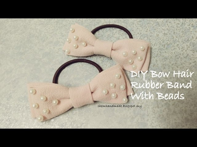 ShemHandmade - Diy Bow Hair Rubber Band with Beads