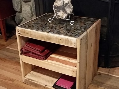 DIY on How to make a pallet table with a coin or penny top.