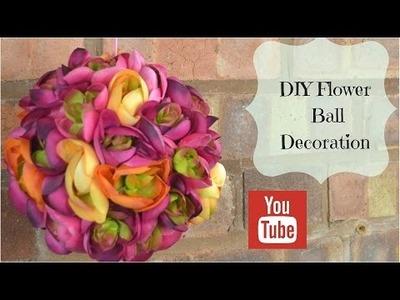 DIY hanging flower ball decoration tutorial using silk  flowers