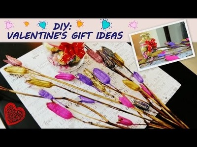 DIY: Valentine Gifts!! Dry flower bouquet and chocolate jar