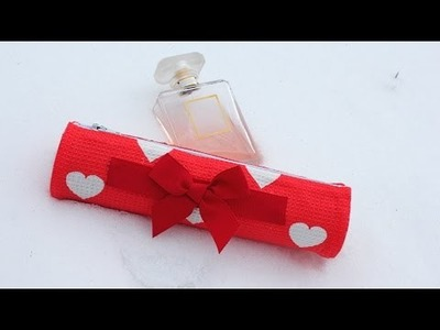 DIY Valentines Day Gift. Pencil Case recycling cardboard tube NO SEW