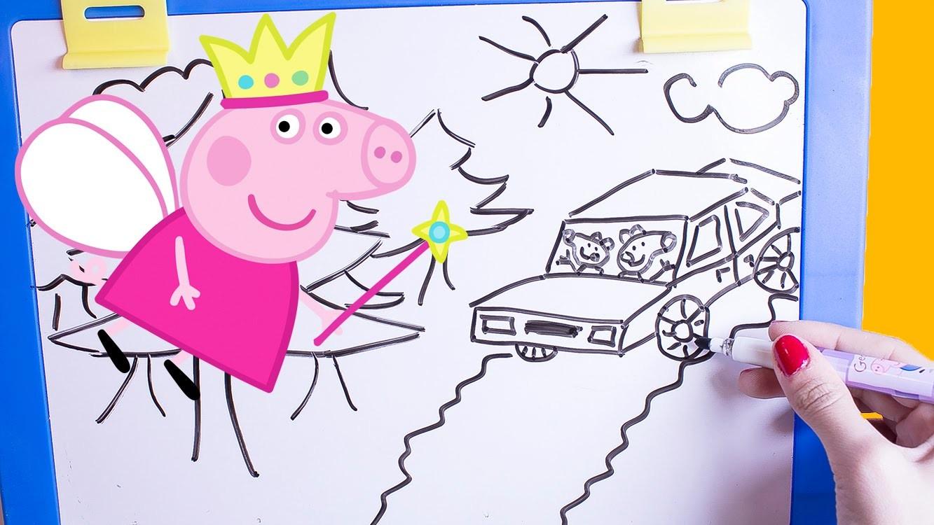 Peppa Pig Table Top Easel Chalkboard DIY Coloring Drawing Peppa Pig Toys