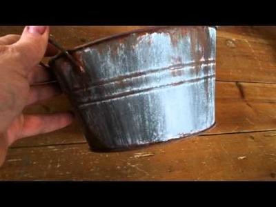 ? DIY ? | DOLLAR TREE Bucket with Faux Rusty Galvanized Finish