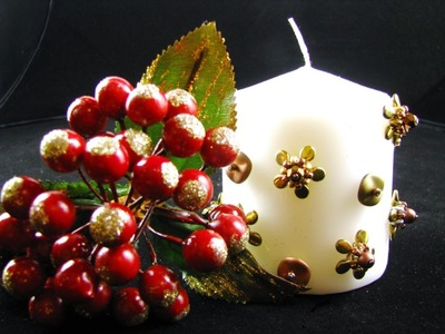 Beaded candle decoration with Preciosa pip beads