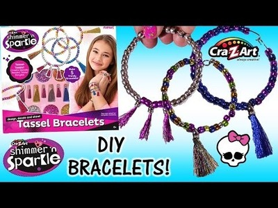Cra-Z-Art Shimmer n' Sparkle Tassel Bracelets! DIY Bracelets! Metallic Beads! Monster High Makeup!