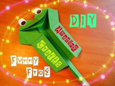 DIY Amazing Paper Toy For Children. Funny Origami Frog. Cool Handmade Craft For Beginners
