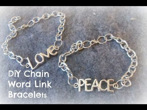 How to make a chain Word Bracelet.DIY Chain Word Bracelet