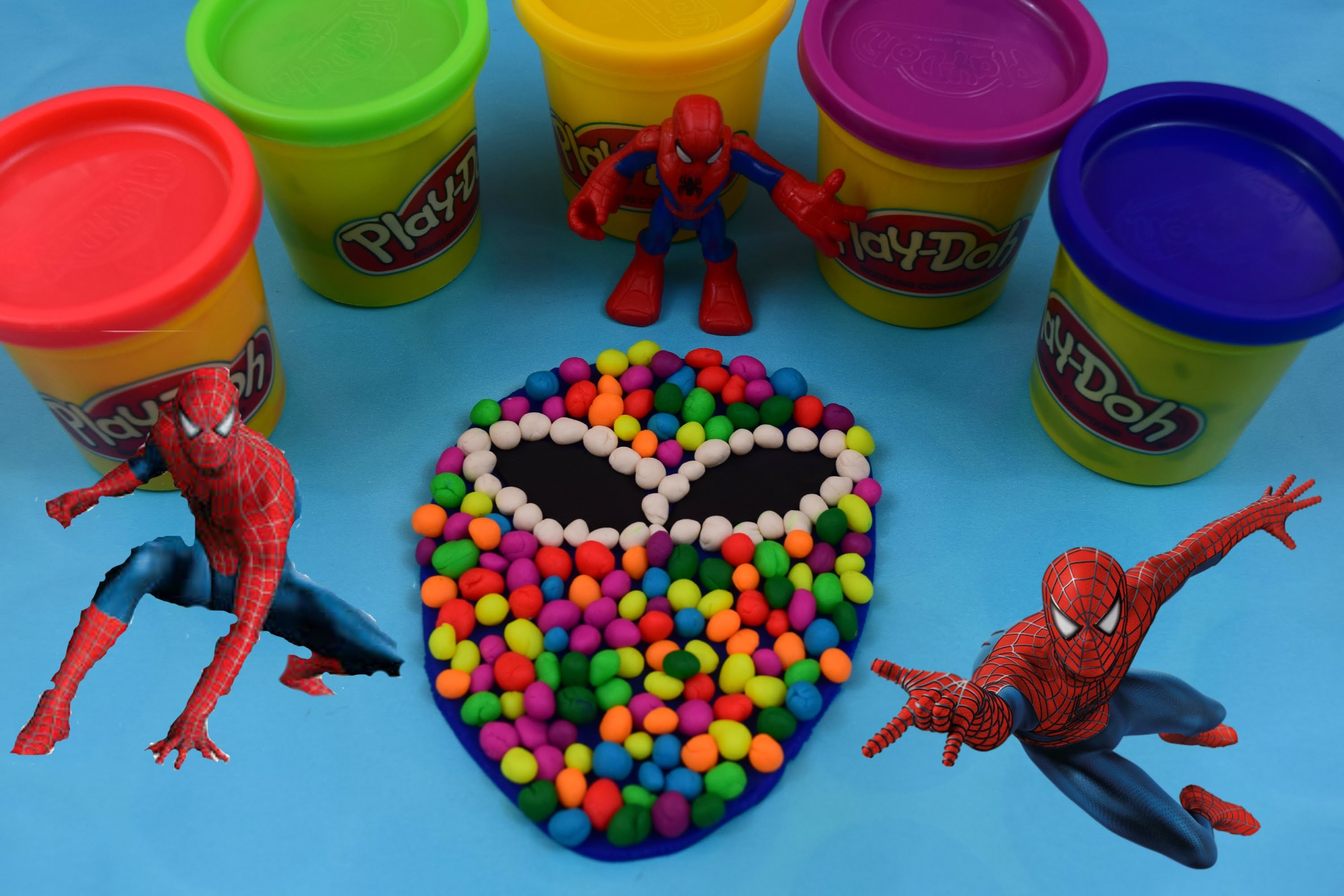 Play Doh DIY How To Make Dippin Dots Multicolor Candy Spiderman Mask