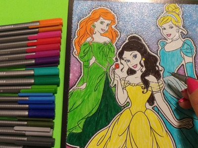 How To Basic - Colour Disney Princess Ariel, Belle and Cinderella