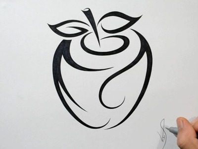 How to Draw an Apple - Tribal Tattoo Design Style