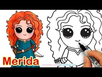 How to Draw Disney Princess Merida from Brave step by step Cute