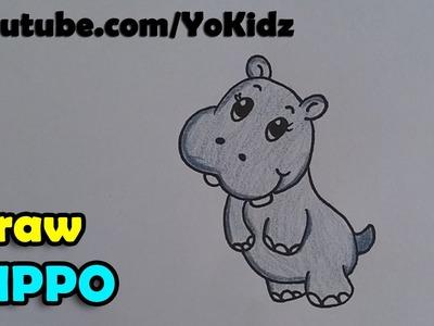 How to draw hippopotamus.  hippo cartoon for kids