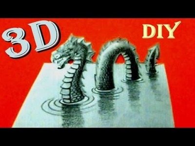 How to Draw in 3D Optical Illusion Monster on Paper Drawing Video Kids Funny Toyo Surprise