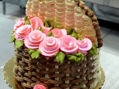 How to Make 3D Basket of Flowers Cake!