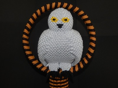 How to make 3D origami snowy owl  part 3
